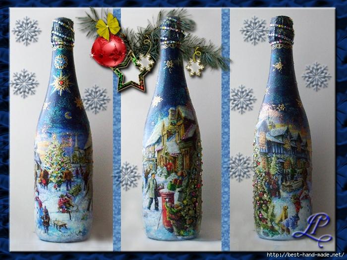 Новогодние картинки для бутылки декупаж