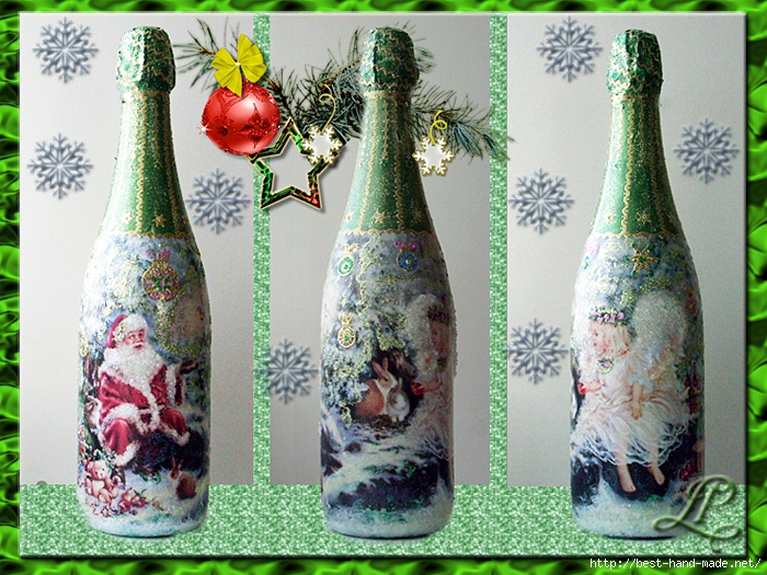 Декупаж бутылок шампанского открыткой